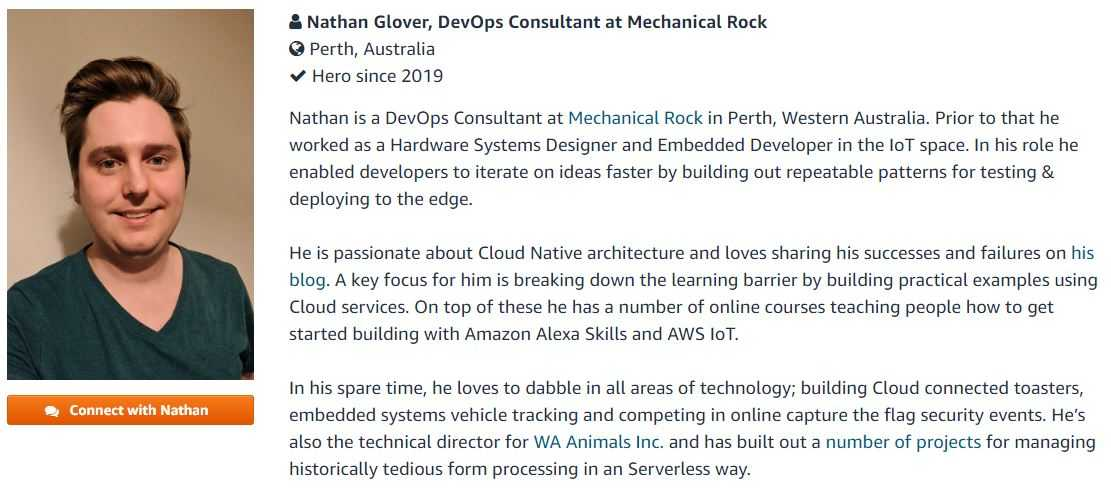 AWS Community Hero Nathan Glover