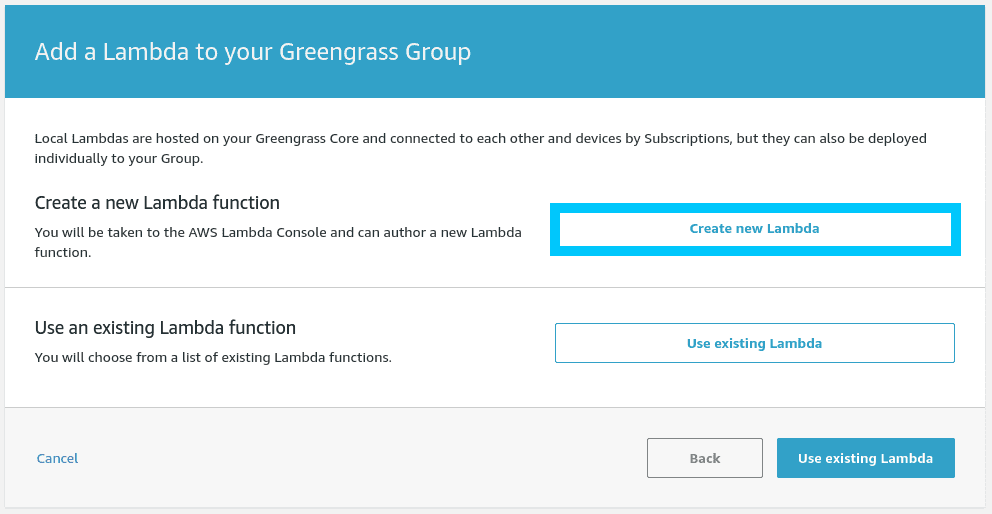Create new Lambda select from Greengrass console