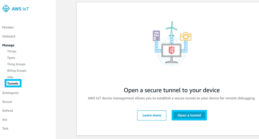 AWS IoT Secure tunnel open tunnel button