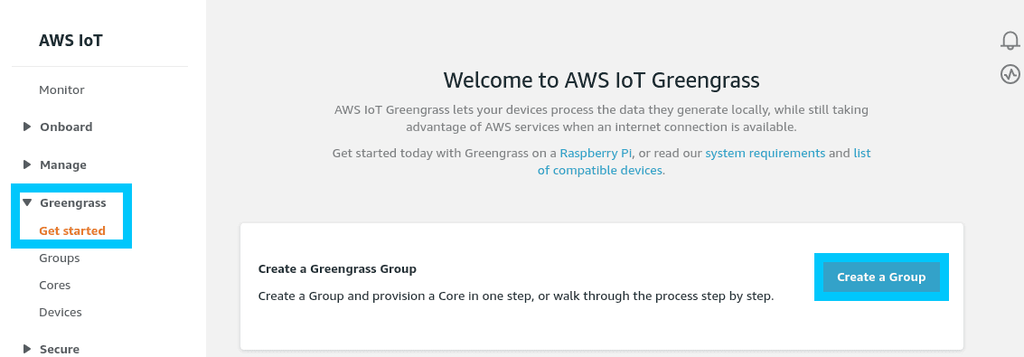 AWS IoT Greengrass create a group