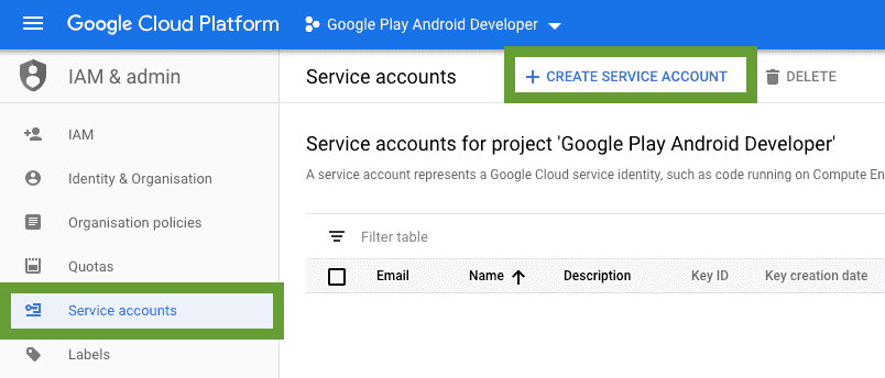 Google Cloud service account creation