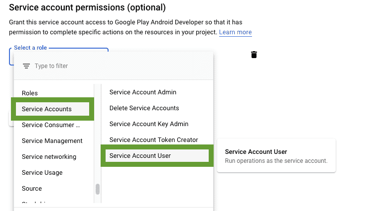 Google Cloud service account user menu